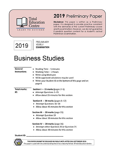 2019 Preliminary (Yr 11) Business Studies