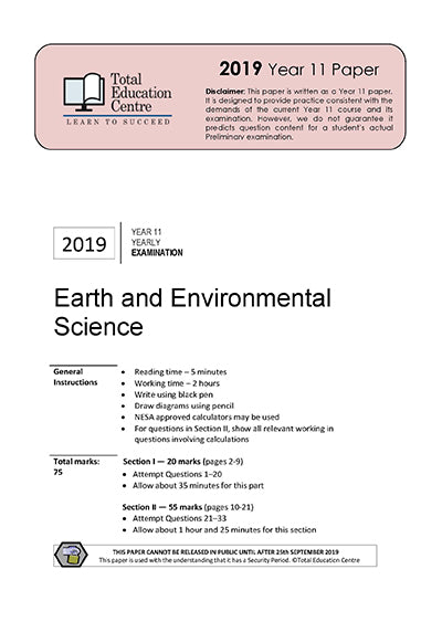 2019 Earth and Environmental Science Yr 11