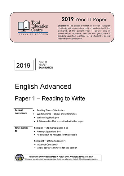2019 English Advanced Year 11 - Paper 1
