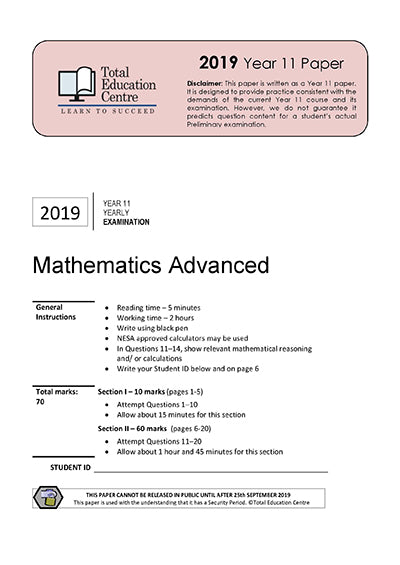 2019 Maths Advanced Yr 11