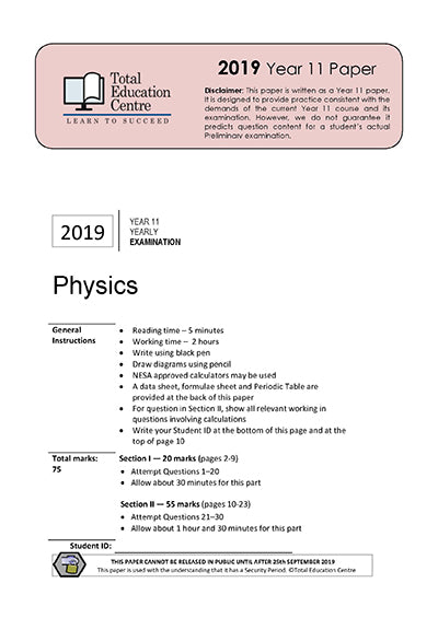 2019 Physics Year 11