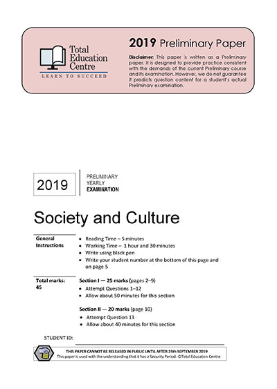 2019 Preliminary (Yr 11) Society and Culture