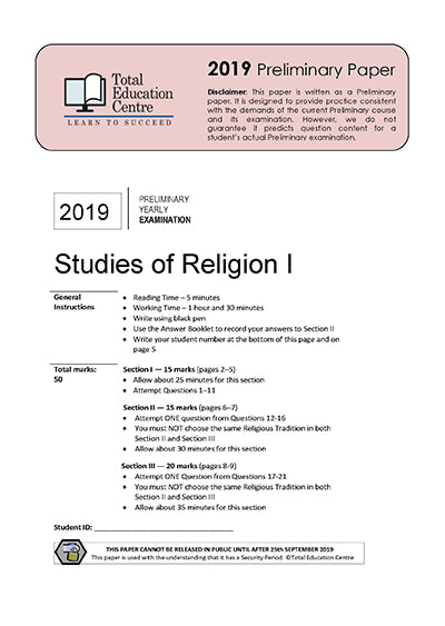 2019 Preliminary (Yr 11) Studies of Religion I
