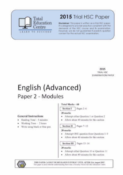 2015 Trial HSC English Advanced Modules Paper 2
