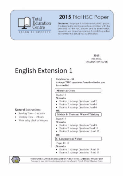 2015 Trial HSC English Extension 1