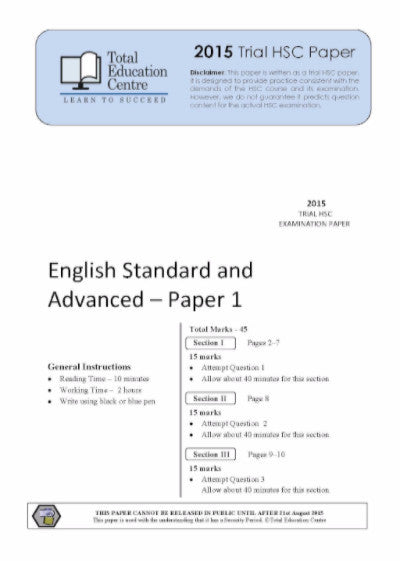 2015 Trial HSC English Adv Stand Paper 1 - Discovery