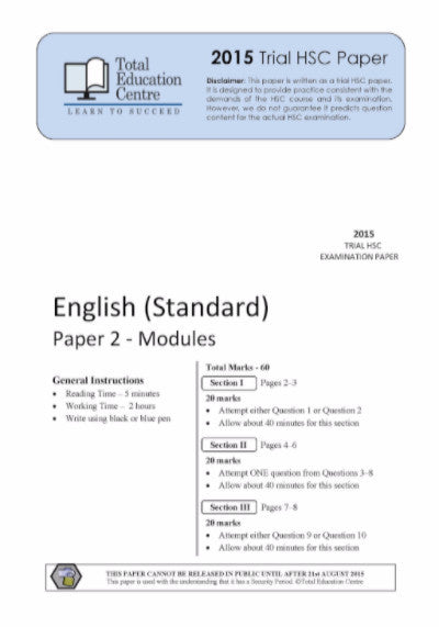 2015 Trial HSC English Standard Modules Paper 2