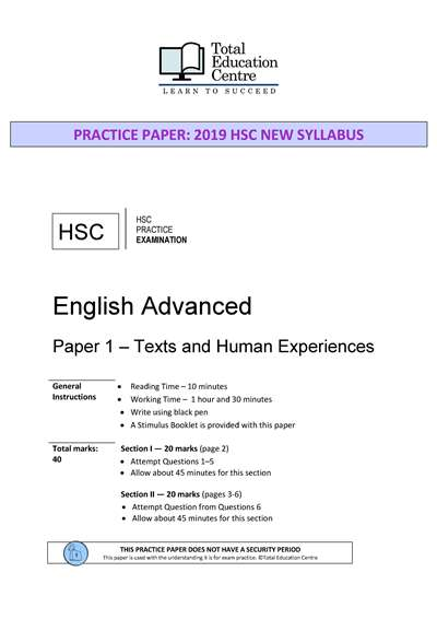 Practice HSC English ADVANCED Paper 1: Texts and Human Experiences