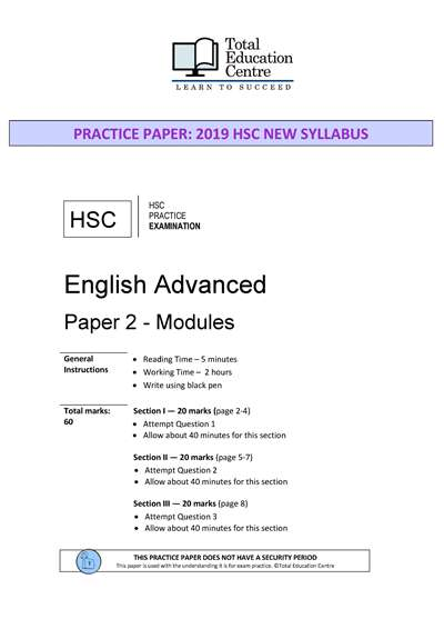 Practice HSC English ADVANCED Paper 2: Modules