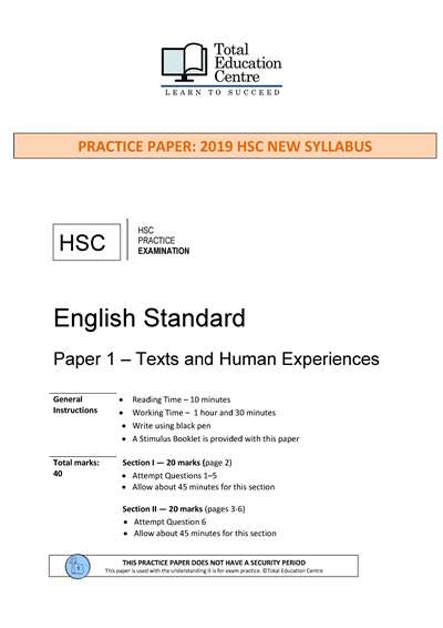 Practice HSC English STANDARD Paper 1: Texts and Human Experiences