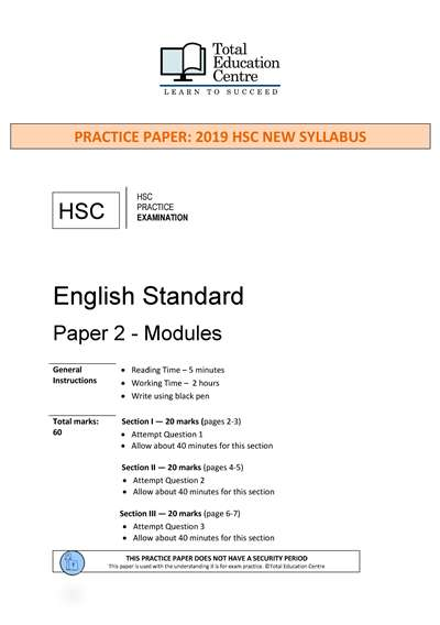 Practice HSC English STANDARD Paper 2: Modules