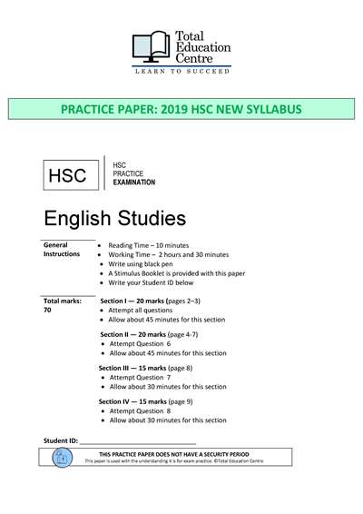 Practice HSC English STUDIES exam paper