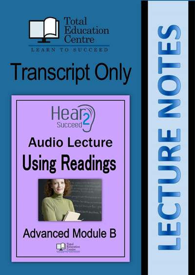 Hear2Succeed English Advanced Using Readings Notes