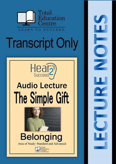 Hear2Succeed English Belonging The Simple Gift Notes