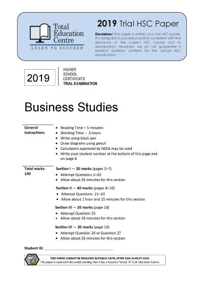 2019 Trial HSC Business Studies