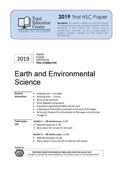 2019 Earth and Environmental Science HSC Trial