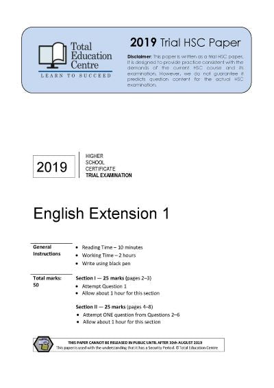 2019 Trial HSC English Extension 1