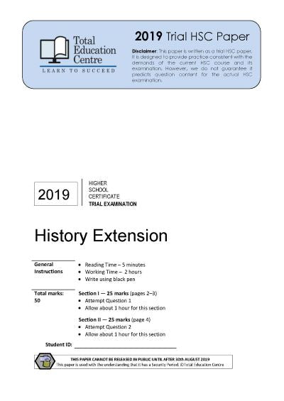 2019 Trial HSC Extension History