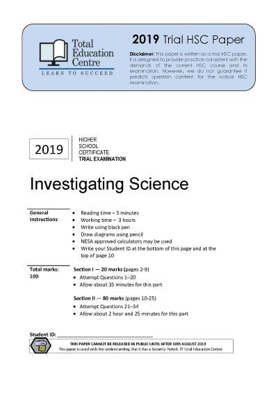 2019 Investigating Science HSC Trial