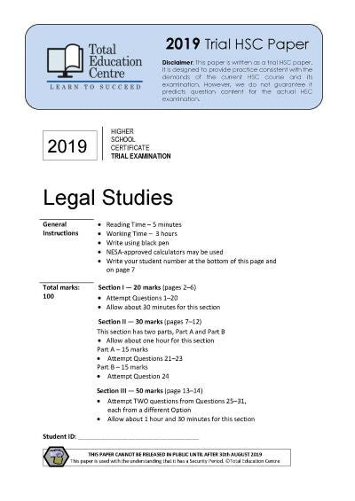 2019 Trial HSC Legal Studies
