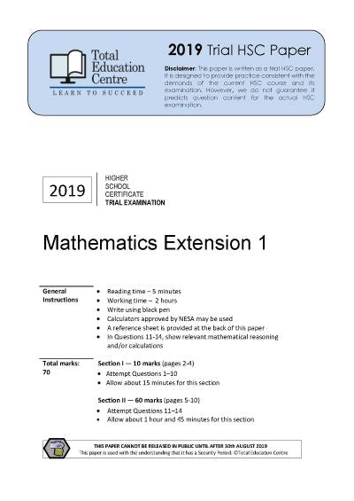 2019 Trial HSC Ext 1 Mathematics