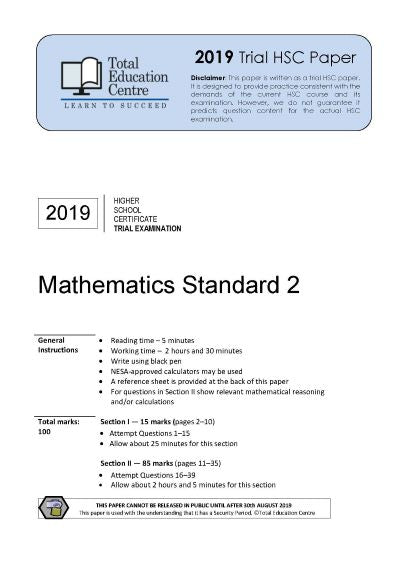 2019 Maths Standard 2 HSC Trial