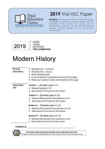 2019 Trial HSC Modern History