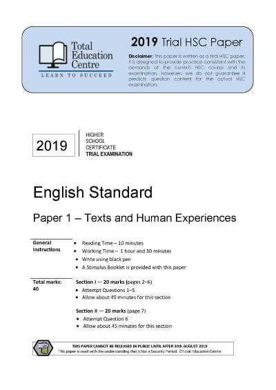 2019 Trial HSC English Standard Paper 1