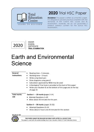 2020 Earth and Environmental Science HSC Trial
