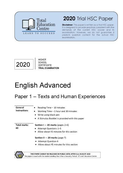 2020 Trial HSC English Advanced Paper 1