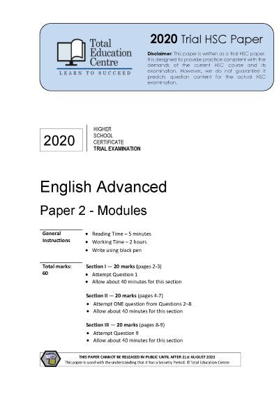 2020 Trial HSC English Advanced Modules Paper 2