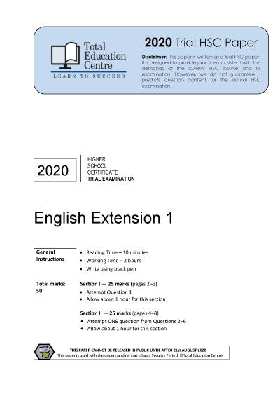 2020 Trial HSC English Extension 1