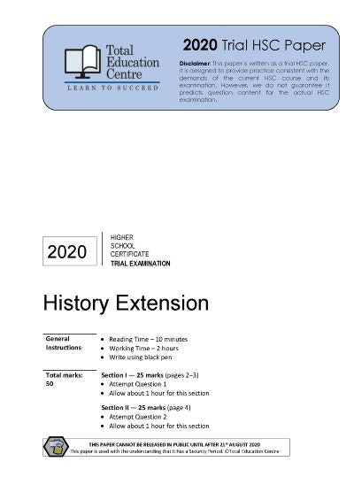 2020 Trial HSC Extension History