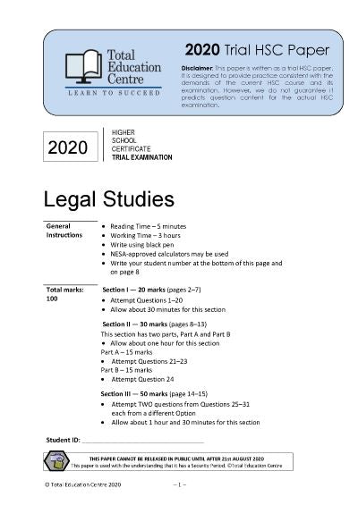 2020 Trial HSC Legal Studies