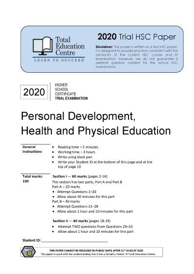 2020 Trial HSC PDHPE