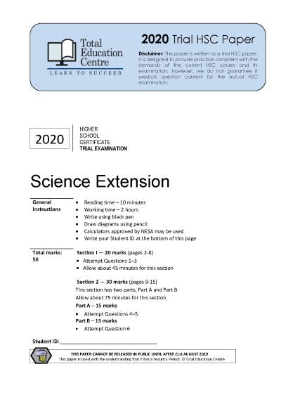 2020 Trial HSC Science Extension paper