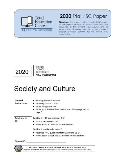 2020 Trial HSC Society and Culture