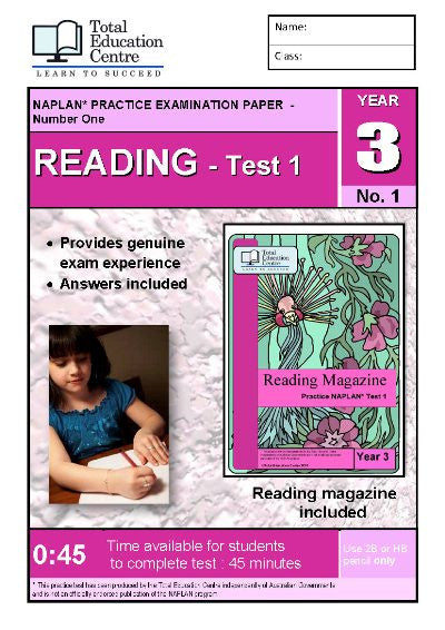 Year 3 NAPLAN Reading Test 1