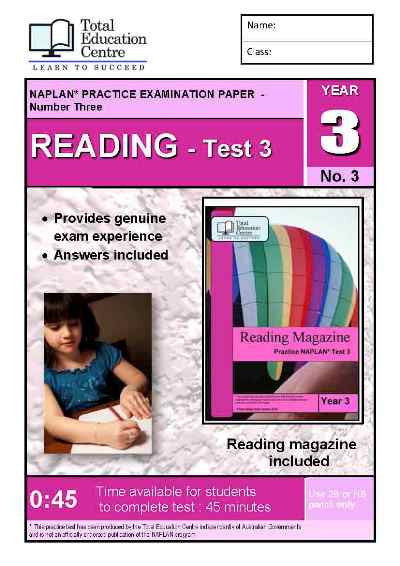 Year 3 NAPLAN Reading Test 3