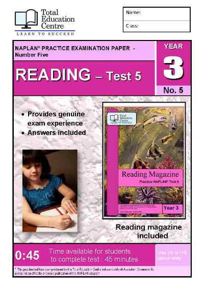Year 3 NAPLAN Reading Test 5