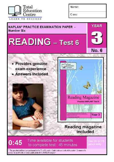 Year 3 NAPLAN Reading Test 6