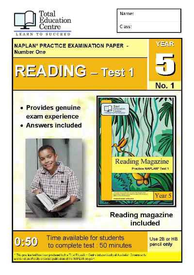 Year 5 NAPLAN Reading Test 1