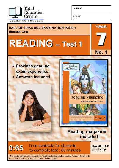 Year 7 NAPLAN Reading Test 1