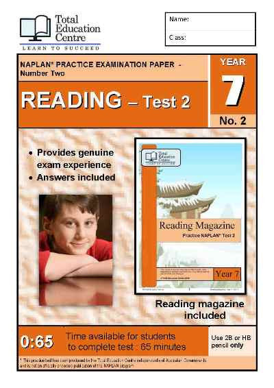 Year 7 NAPLAN Reading Test 2