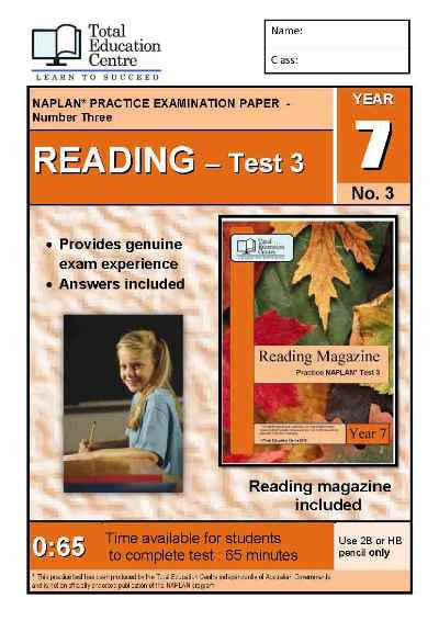 Year 7 NAPLAN Reading Test 3