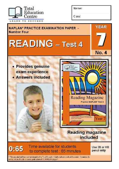 Year 7 NAPLAN Reading Test 4