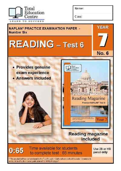 Year 7 NAPLAN Reading Test 6