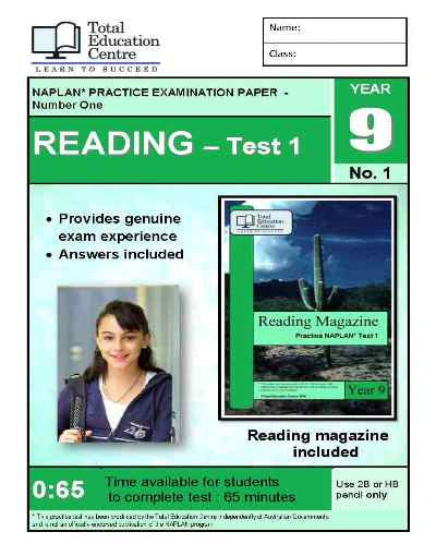 Year 9 NAPLAN Reading Test 1