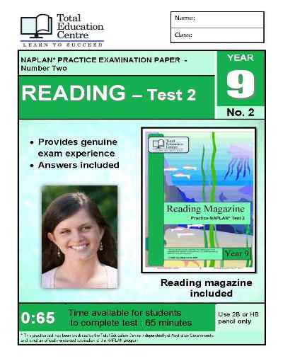 Year 9 NAPLAN Reading Test 2