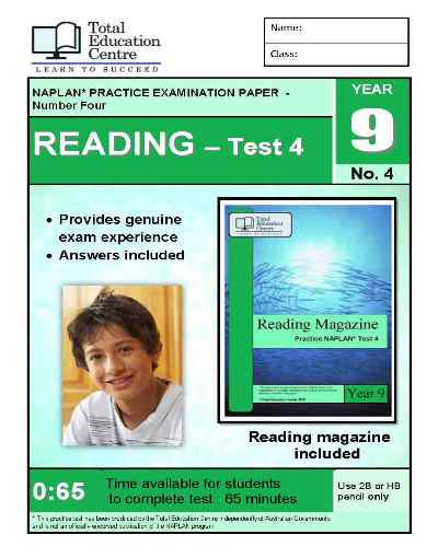 Year 9 NAPLAN Reading Test 4